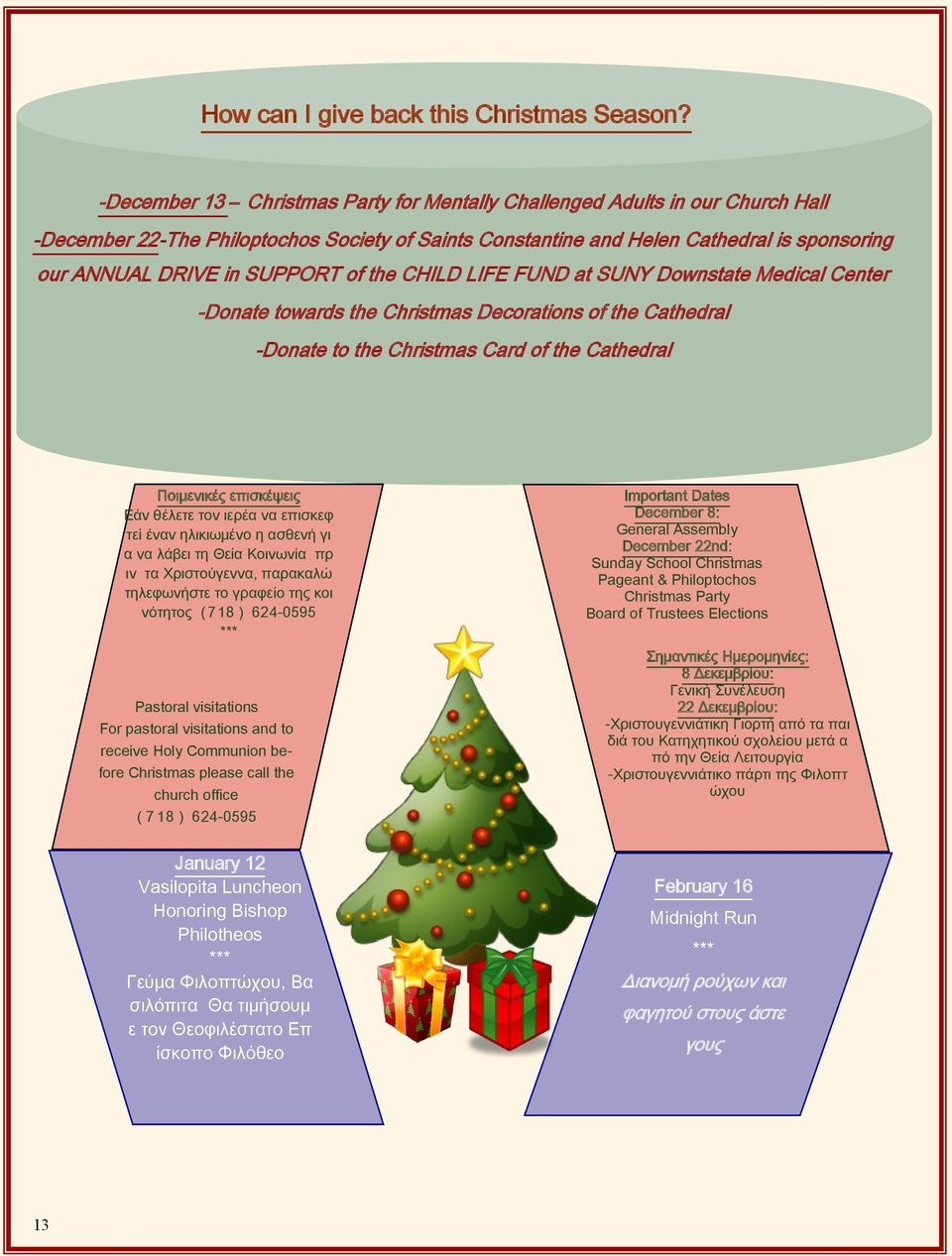 SUPPORT of the CHILD LIFE FUND at SUNY Downstate Medical Center -Donate towards the Christmas Decorations of the Cathedral -Donate to the Christmas Card of the Cathedral Ποιμενικές επισκέψεις Εάν