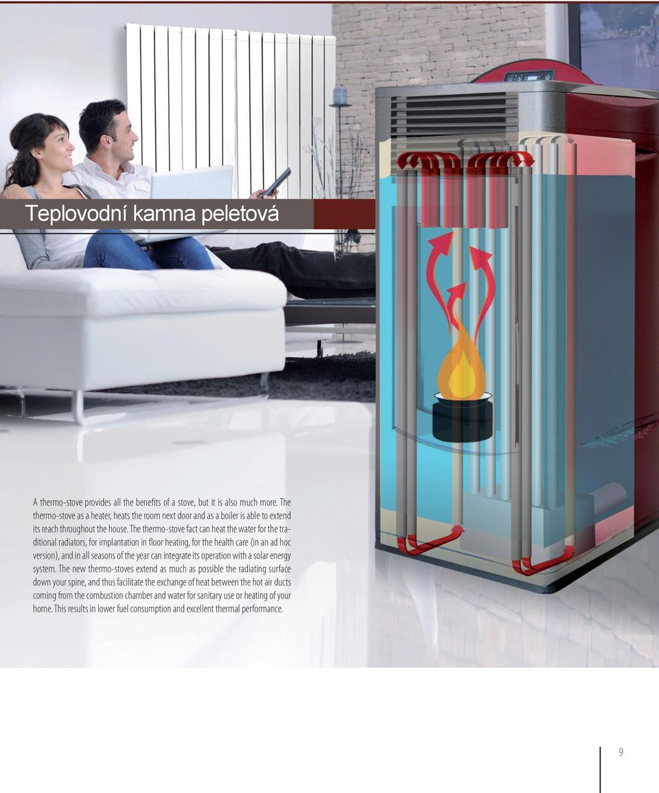 The thermo-stove fact can heat the water for the traditional radiators, for implantation in floor heating, for the health care (in an ad hoc version), and in all seasons of the year can integrate