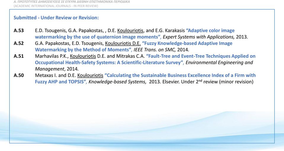 on SMC, 2014. A.51 Marhavilas P.K., Koulouriotis D.E. and Mitrakas C.A. Fault-Tree and Event-Tree Techniques Applied on Occupational Health-Safety Systems: A Scientific-Literature Survey, Environmental Engineering and Management, 2014.