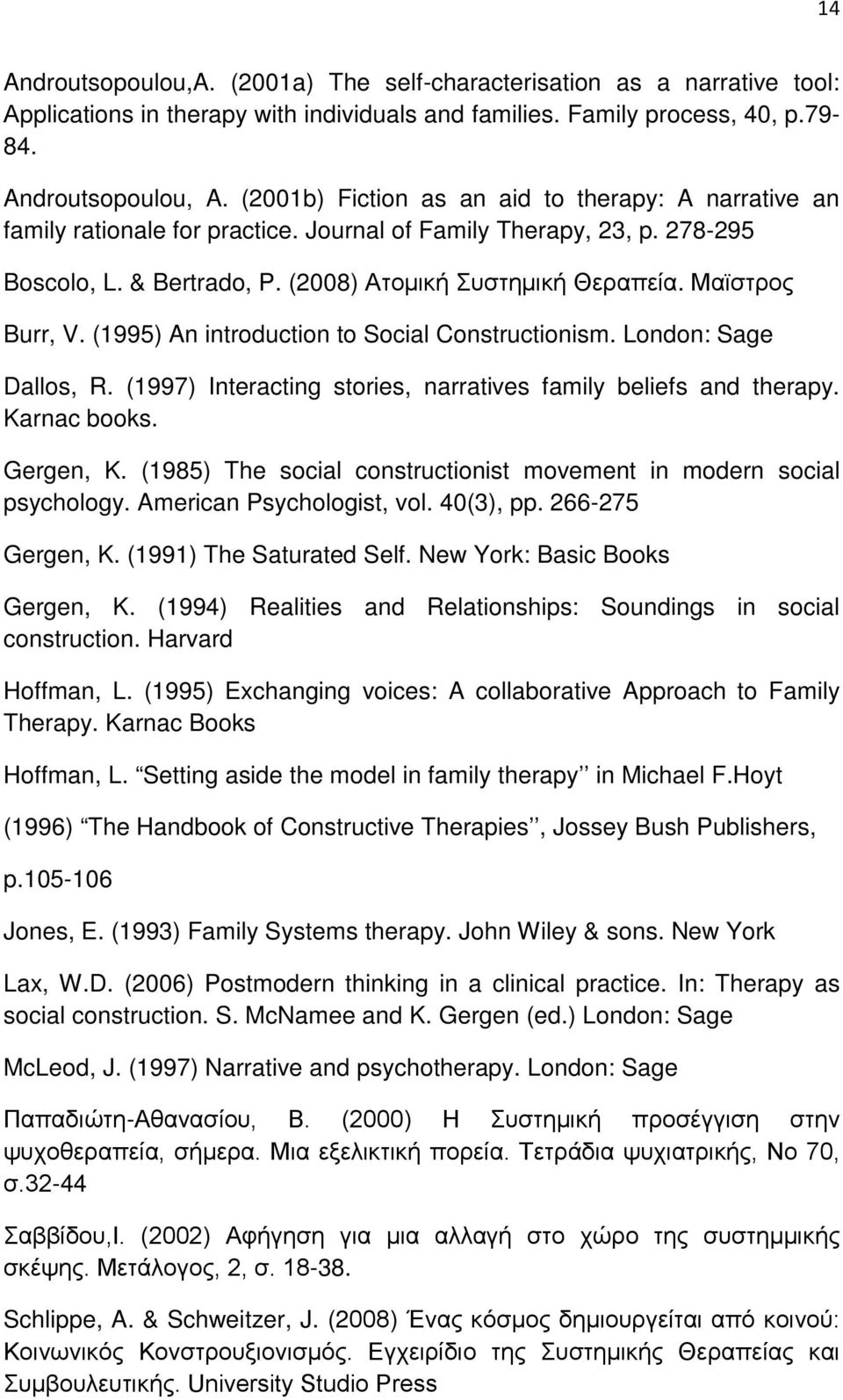 Μαϊστρος Burr, V. (1995) An introduction to Social Constructionism. London: Sage Dallos, R. (1997) Interacting stories, narratives family beliefs and therapy. Karnac books. Gergen, K.