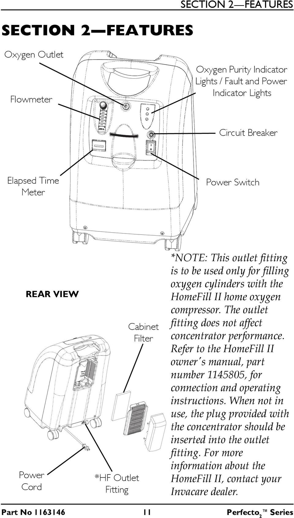 The outlet fitting does not affect concentrator performance. Refer to the HomeFill II ownerʹs manual, part number 1145805, for connection and operating instructions.