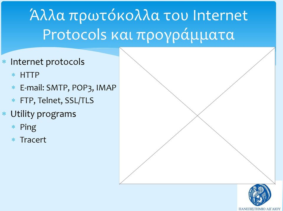 HTTP E-mail: SMTP, POP3, IMAP FTP,