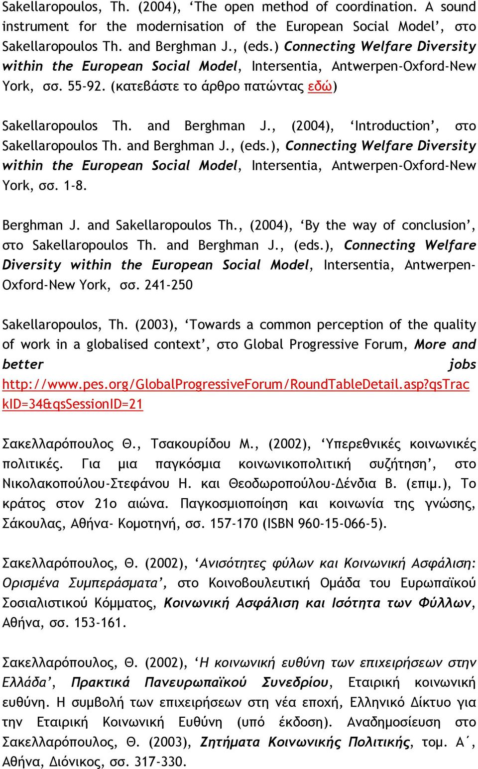 , (2004), Introduction, στο Sakellaropoulos Th. and Berghman J., (eds.), Connecting Welfare Diversity within the European Social Model, Intersentia, Antwerpen-Oxford-New York, σσ. 1-8. Berghman J. and Sakellaropoulos Th.