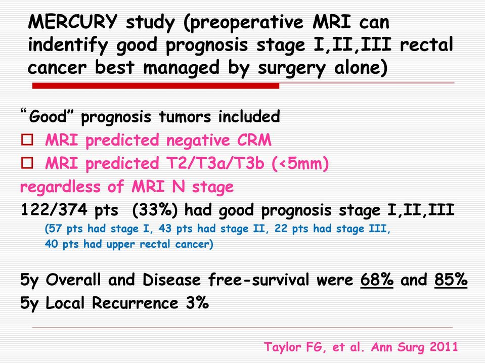 pts (33%) had good prognosis stage I,II,III (57 pts had stage I, 43 pts had stage II, 22 pts had stage III, 40 pts had