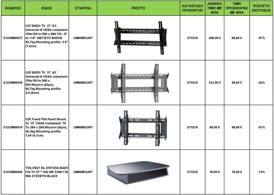 Mounting profile: 2.4 (6cm) OMNIMOUNT STOCK 123,50 59,00-52% S12OM00019 U2F.Fixed Flat Panel Mount 23-37.VESA Compliant: 75 To 200 x 200.
