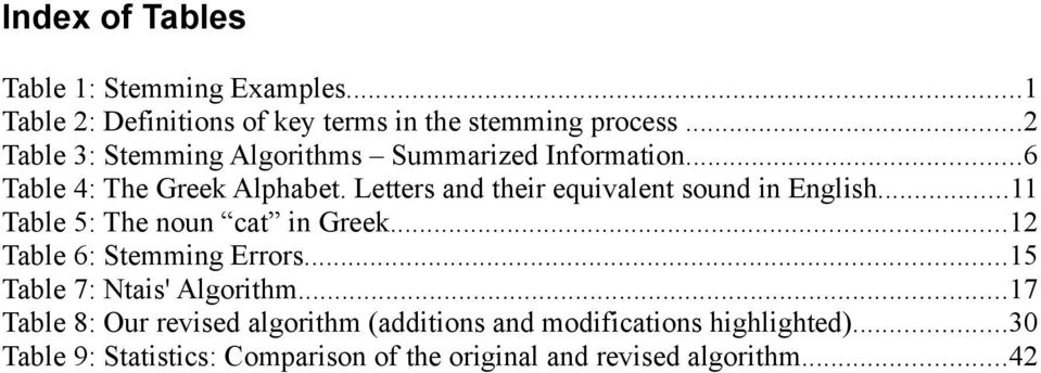 Letters and their equivalent sound in English...11 Table 5: The noun cat in Greek...12 Table 6: Stemming Errors.