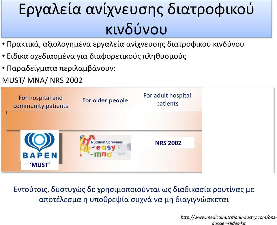 patients For older people For adult hospital patients For children NRS 2002 MUST Εντούτοις, δυστυχώς δε χρησιμοποιούνται
