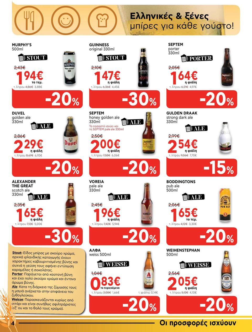 λίτρου 7,58 6,06 ALE GULDEN DRAAK strong dark ale 2,99 2 54 τ. λίτρου 9,06 7,70 ALE -15% ALEXANDER THE GREAT scotch ale ALE 2,35 1 65 τ. λίτρου 7,12 5,00 VOREIA pale ale 2,45 1 96 τ.