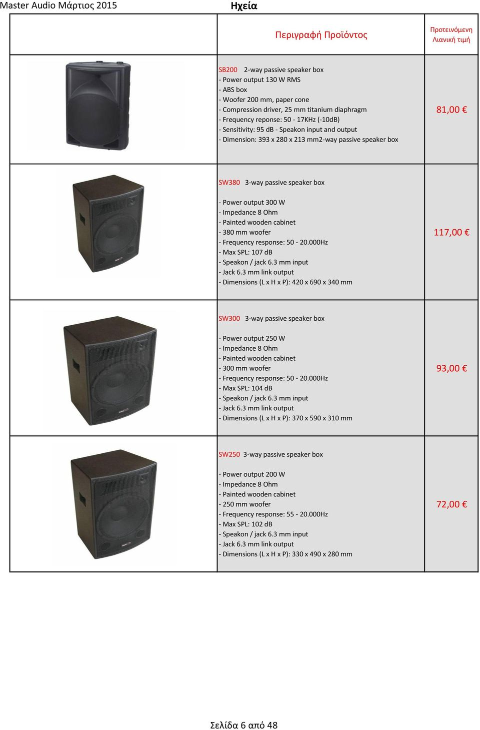 cabinet - 380 mm woofer - Frequency response: 50-20.000Hz - Max SPL: 107 db - Speakon / jack 6.3 mm input - Jack 6.