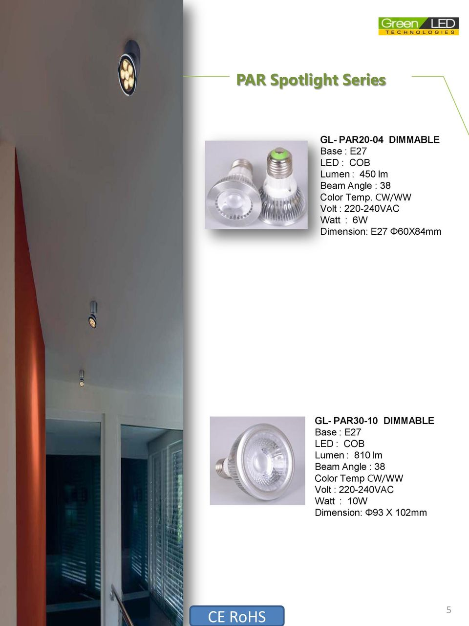CW/WW Volt : 220-240VAC Watt : 6W Dimension: E27 Φ60X84mm GL- PAR30-10 DIMMABLE