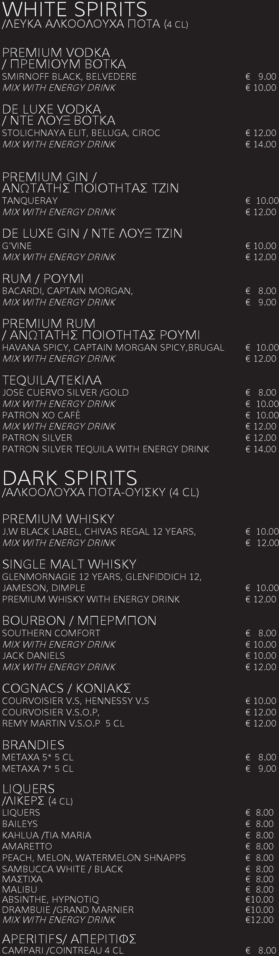 00 PREMIUM RUM / ΑΝΩΤΑΤΗΣ ΠΟΙΟΤΗΤΑΣ ΡΟΥΜΙ HAVANA SPICY, CAPTAIN MORGAN SPICY,BRUGAL 10.00 TEQUILA/ΤΕΚΙΛΑ JOSE CUERVO SILVER /GOLD 8.00 MIX WITH ENERGY DRINK 10.00 PATRON XO CAFÉ 10.