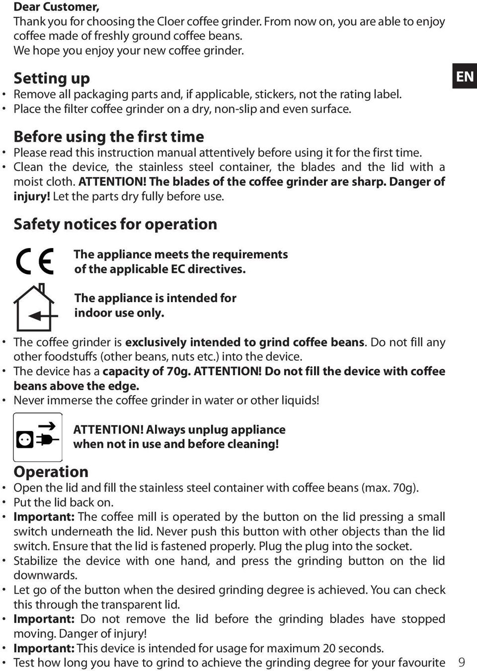 Before using the first time Please read this instruction manual attentively before using it for the first time.