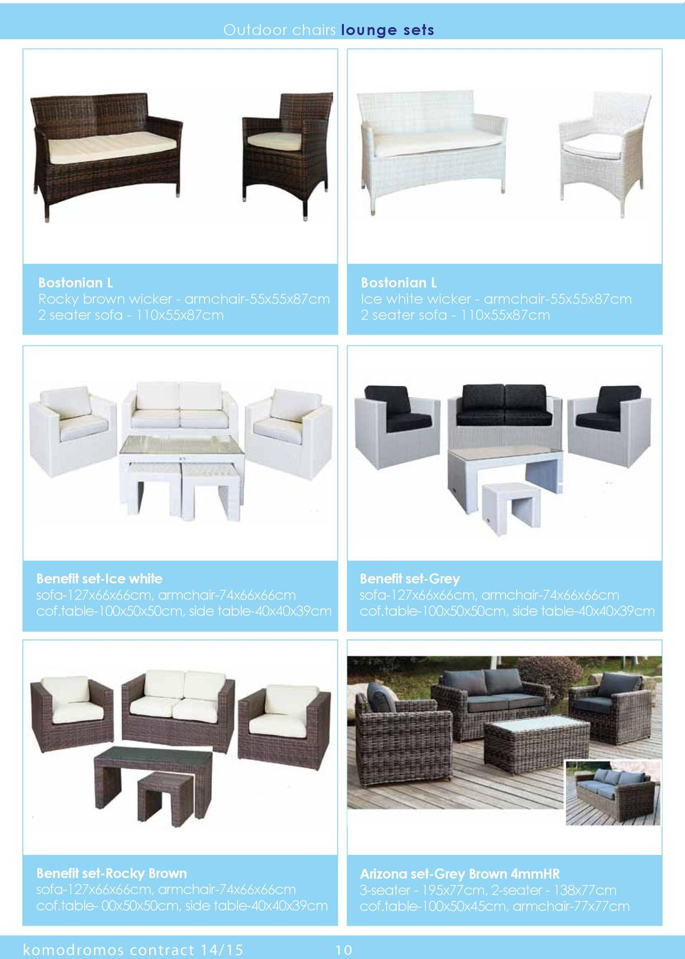 table-100x50x50cm, side table-40x40x39cm Benefit set-grey sofa-127x66x66cm, armchair-74x66x66cm cof.