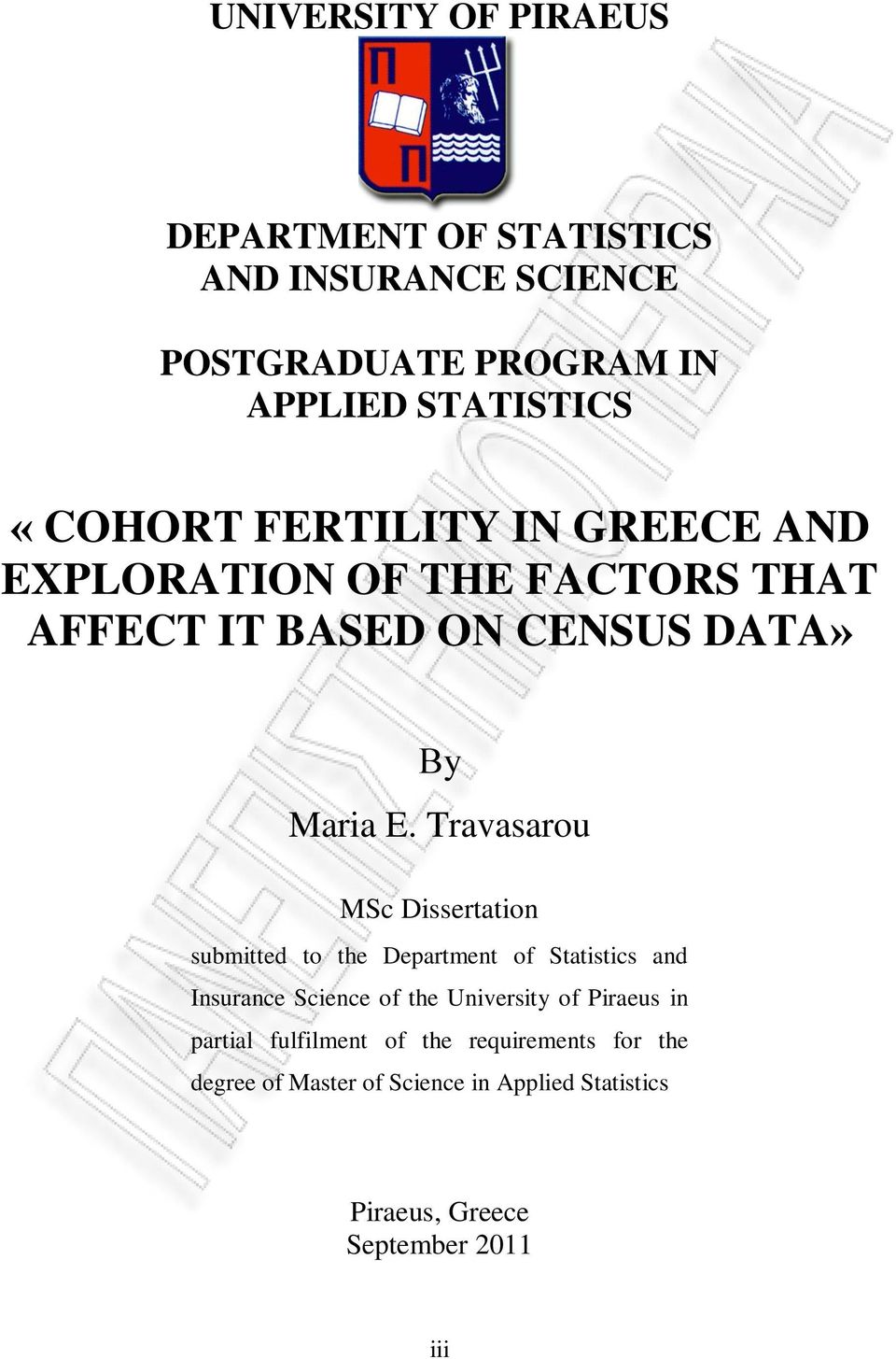 Travasarou MSc Dissertation submitted to the Department of Statistics and Insurance Science of the University of