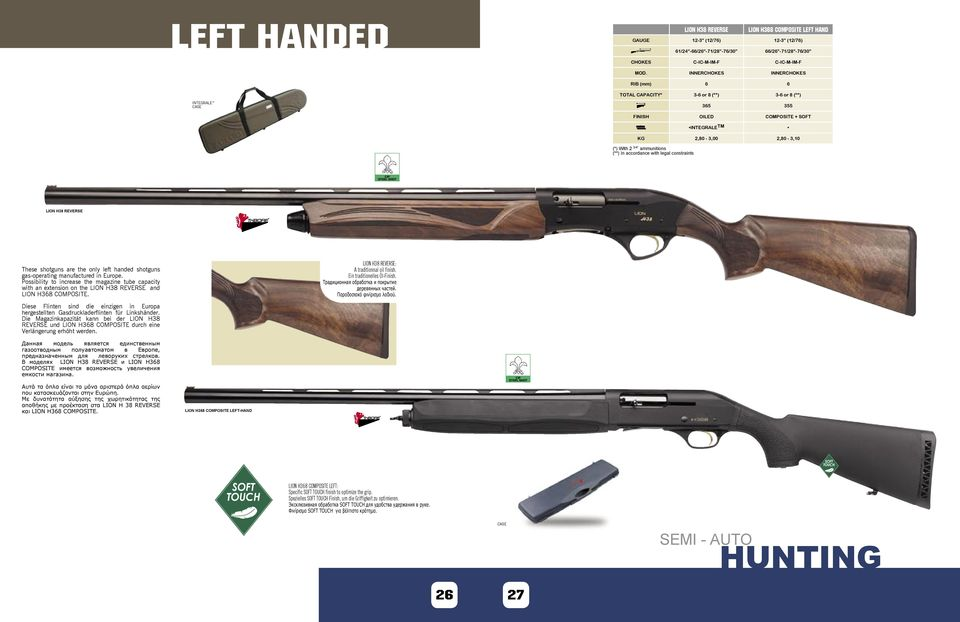 In accordance with legal constraints LION H38 REVERSE These shotguns are the only left handed shotguns gas-operating manufactured in Europe.