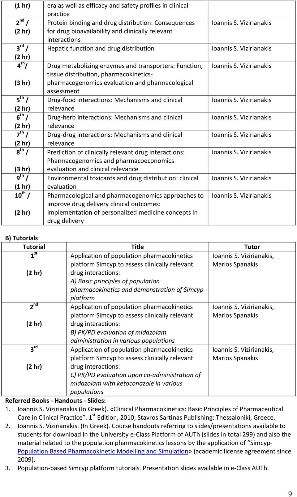 pharmacological assessment 5 th / Drug-food interactions: Mechanisms and clinical (2 hr) relevance 6 th / Drug-herb interactions: Mechanisms and clinical (2 hr) relevance 7 th / Drug-drug