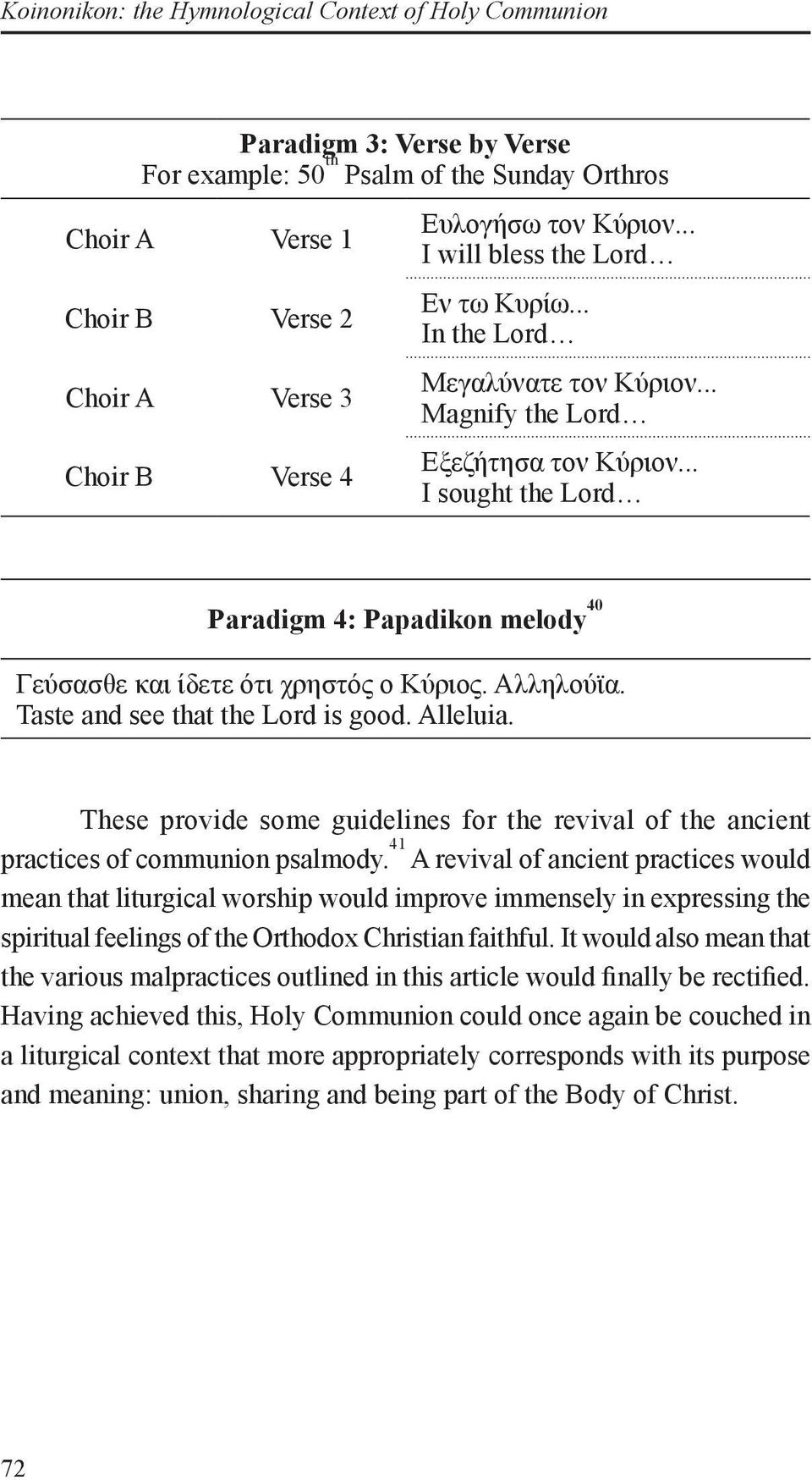 .. I sought the Lord Paradigm 4: Papadikon melody 40 Γεύσασθε και ίδετε ότι χρηστός ο Κύριος. Taste and see that the Lord is good.