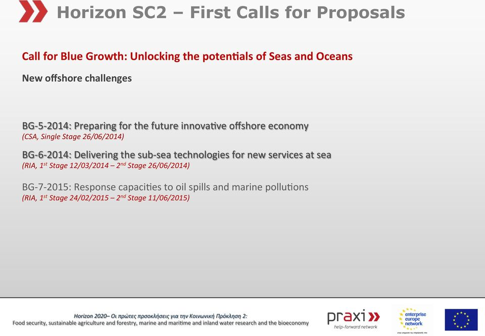 BG- 6-2014: Delivering the sub- sea technologies for new services at sea BG- 7-2015: Response
