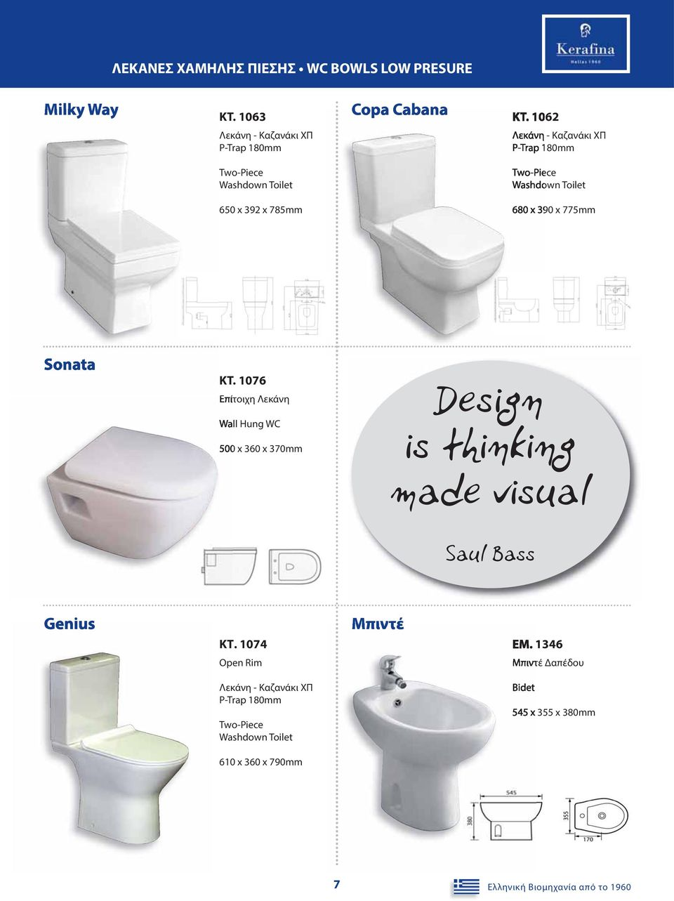 1076 Επίτοιχη Λεκάνη Wall Hung WC 500 x 360 x 370mm Design is thinking made