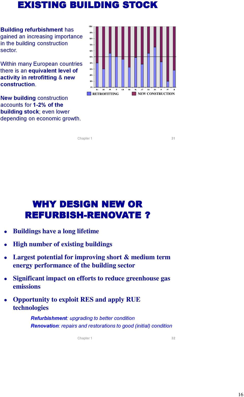 New building construction accounts for 1-2% of the building stock; even lower depending on economic growth. RETROFITTING NEW CONSTRUCTION 31 WHY DESIGN NEW OR REFURBISH-RENOVATE?
