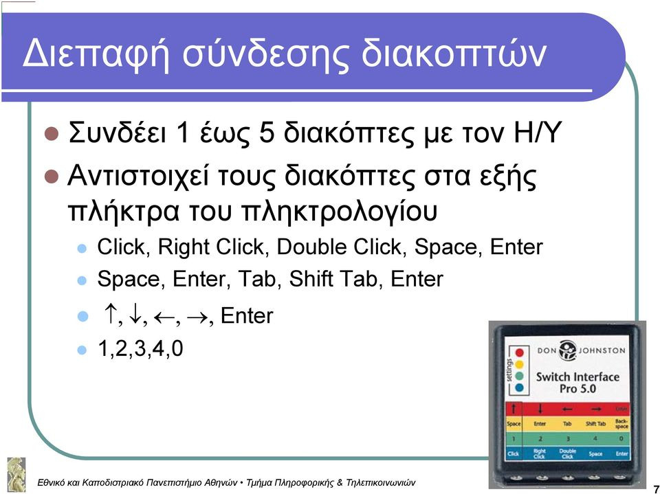 πληκτρολογίου Click, Right Click, Double Click, Space,
