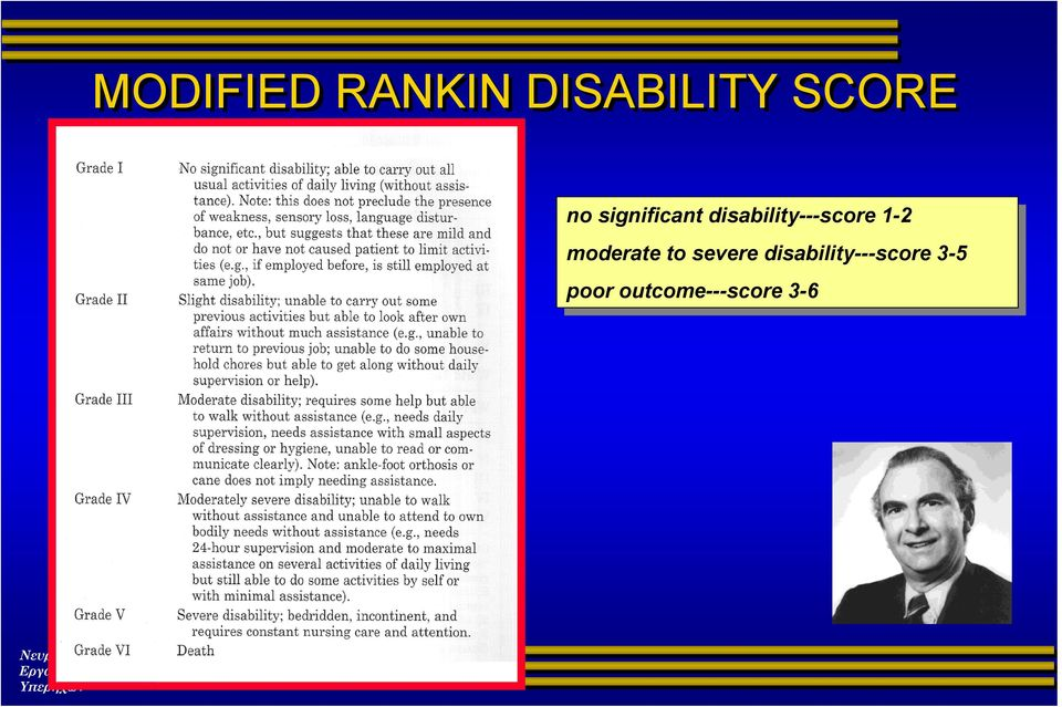 moderate moderate to to severe severe disability---score