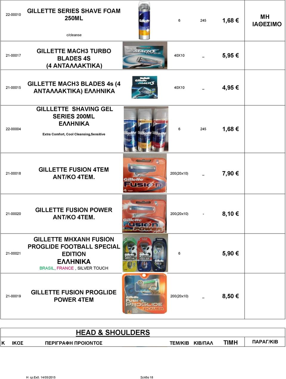 21-00018 GILLETTE FUSION 4ΤΕΜ ANT/KO 4TEM. 200(20x10) 7,90 21-00020 GILLETTE FUSION POWER ΑΝΤ/ΚΟ 4ΤΕΜ.