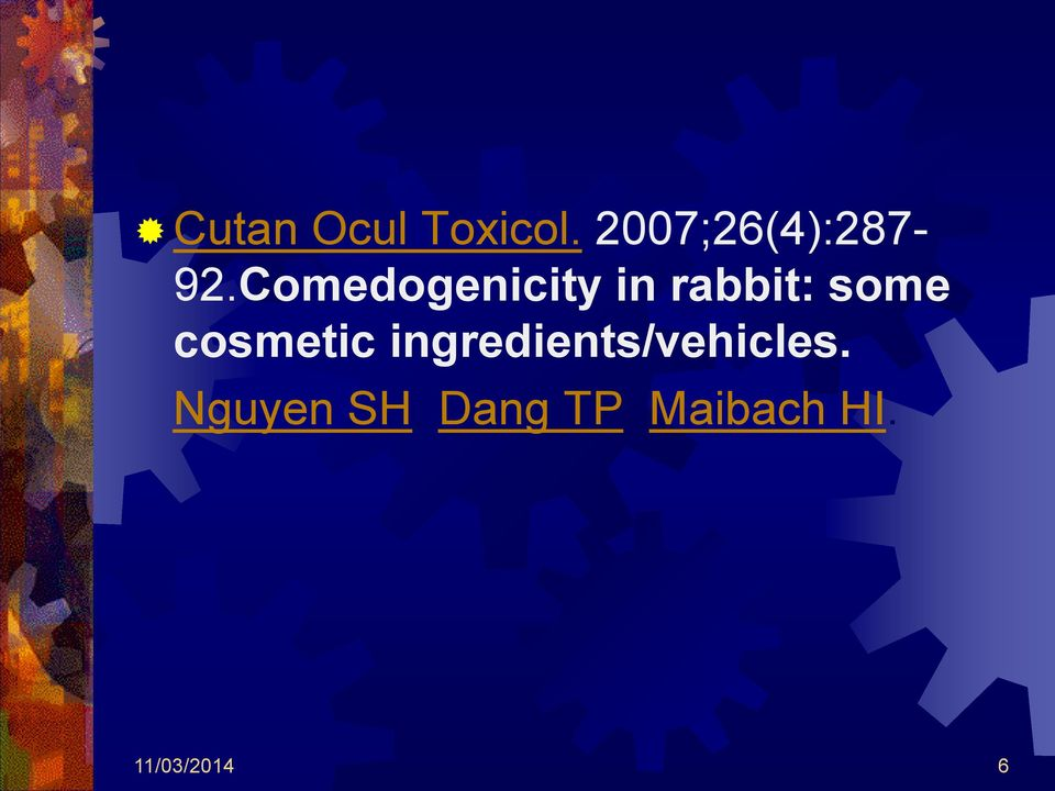 Comedogenicity in rabbit: some