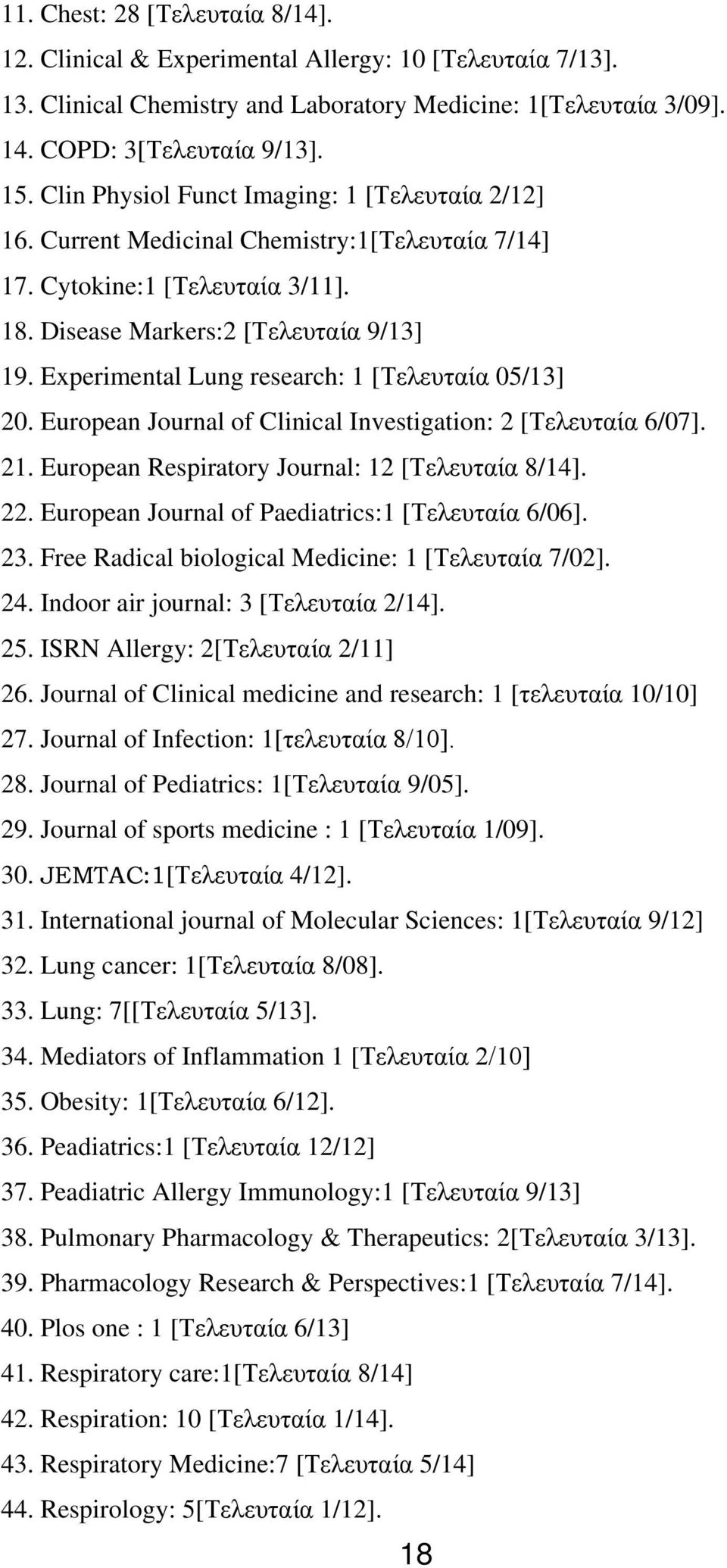 Experimental Lung research: 1 [Τελευταία 05/13] 20. European Journal of Clinical Investigation: 2 [Τελευταία 6/07]. 21. European Respiratory Journal: 12 [Τελευταία 8/14]. 22.