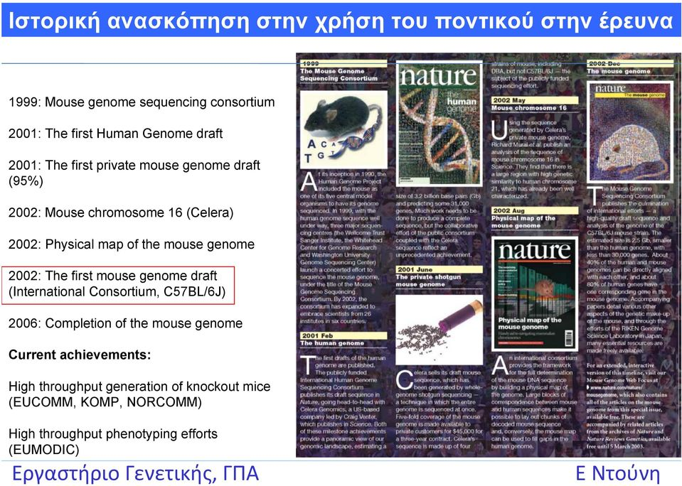 mouse genome 2002: The first mouse genome draft (International Consortium, C57BL/6J) 2006: Completion of the mouse genome