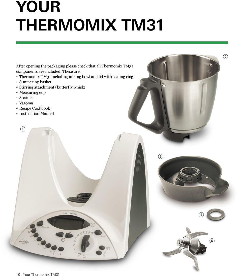 These are: Thermomix TM31 including mixing bowl and lid with sealing ring Simmering