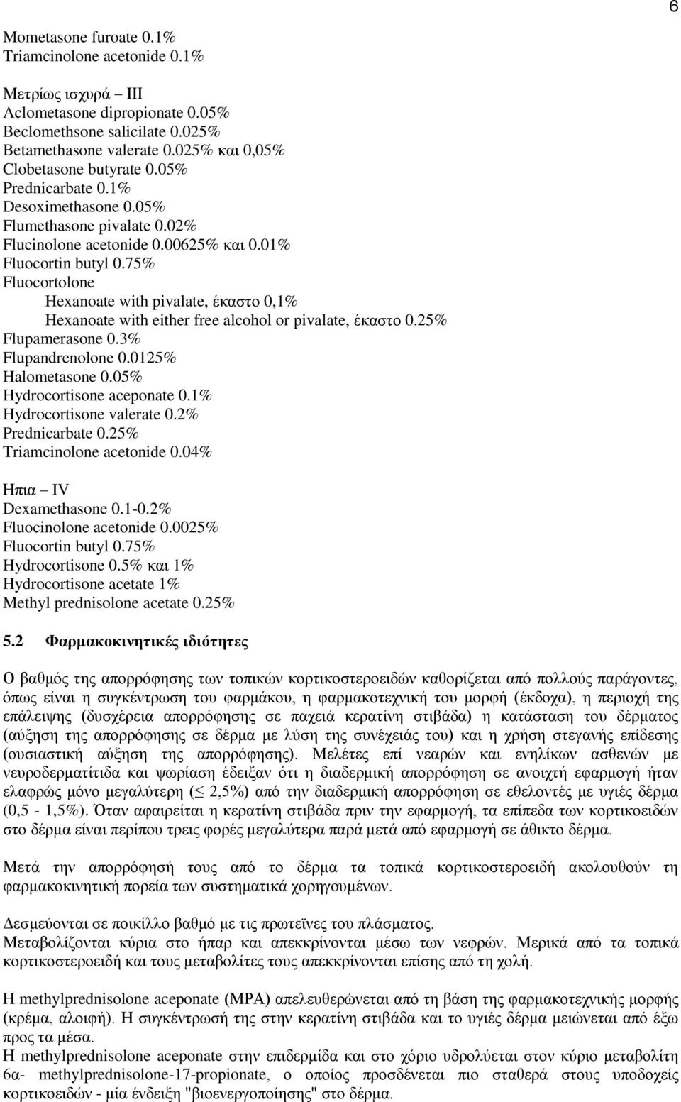 75% Fluocortolone Hexanoate with pivalate, έκαστο 0,1% Hexanoate with either free alcohol or pivalate, έκαστο 0.25% Flupamerasone 0.3% Flupandrenolone 0.0125% Halometasone 0.