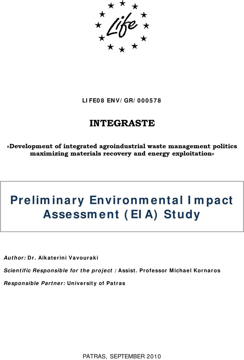 Impact Assessment (EIA) Study Author: Dr.