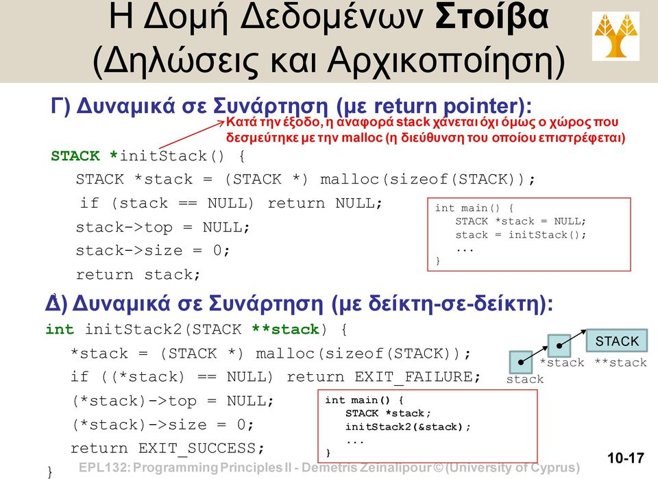 if ((*stack) == NULL) return EXIT_FAILURE; (*stack)->top = NULL; (*stack)->size = 0; return EXIT_SUCCESS; Κατά την έξοδο, η αναφορά stack χάνεται όχι όμως ο χώρος που δεσμεύτηκε με την