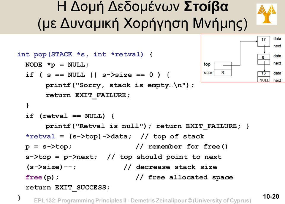 "null""); return EXIT_FAILURE; *retval = (s->top)->data; // top of stack p = s->top; // remember for free() s->top ="