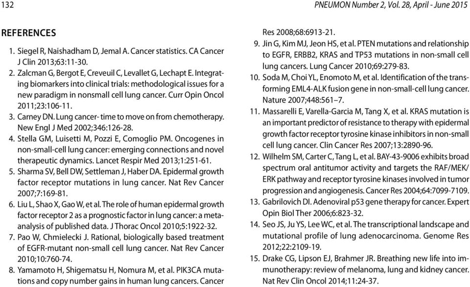 Lung cancer- time to move on from chemotherapy. New Engl J Med 2002;346:126-28. 4. Stella GM, Luisetti M, Pozzi E, Comoglio PM.