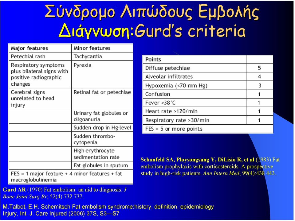 Ann Intern Med; 99(4):438 443. Gurd AR (1970) Fat embolism: an aid to diagnosis.
