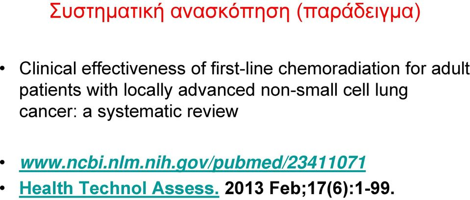 advanced non-small cell lung cancer: a systematic review www.