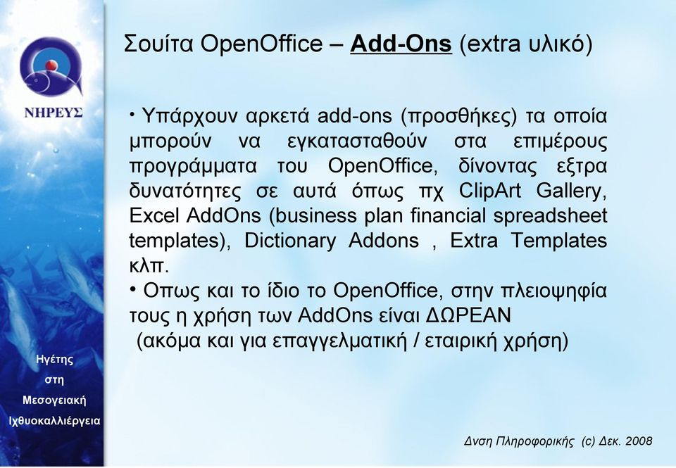 AddOns (business plan financial spreadsheet templates), Dictionary Addons, Extra Templates κλπ.