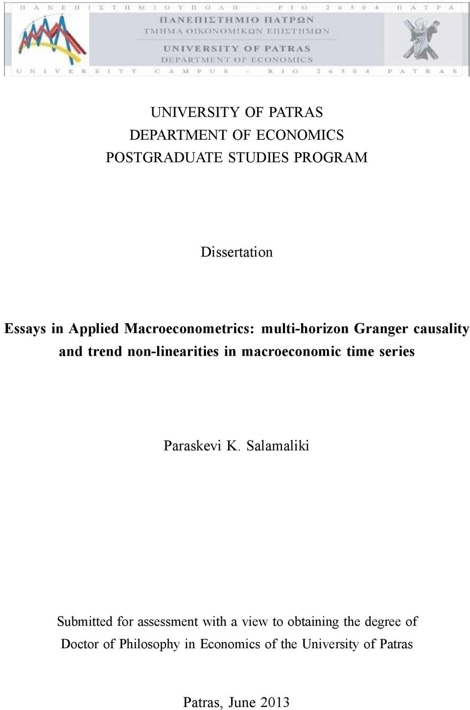 macroeconomic time series Paraskevi K.