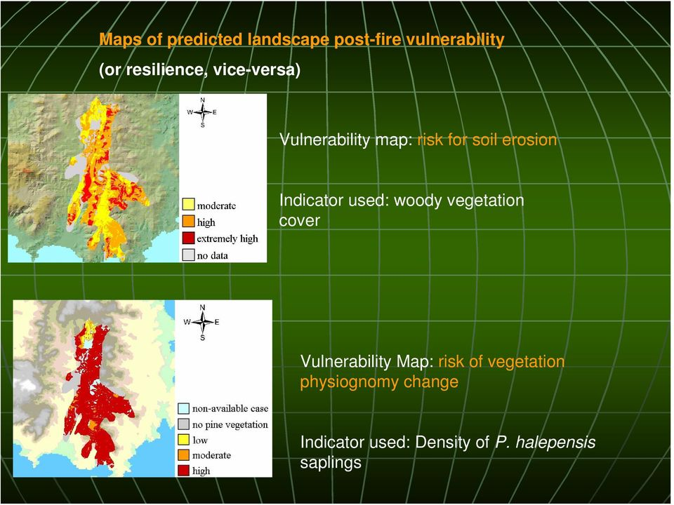 Indicator used: woody vegetation cover Vulnerability Map: risk of