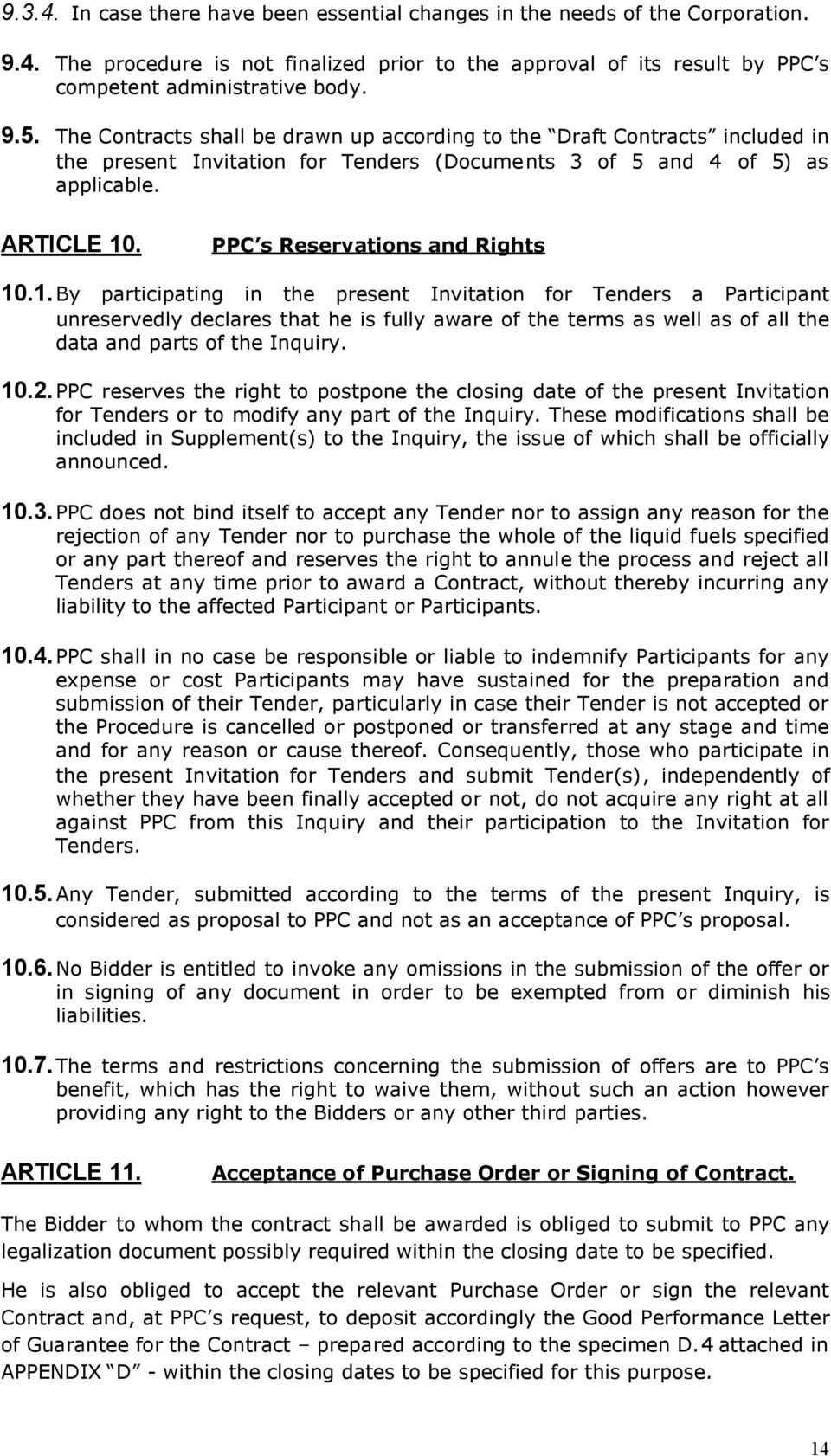 PPC s Reservations and Rights 10