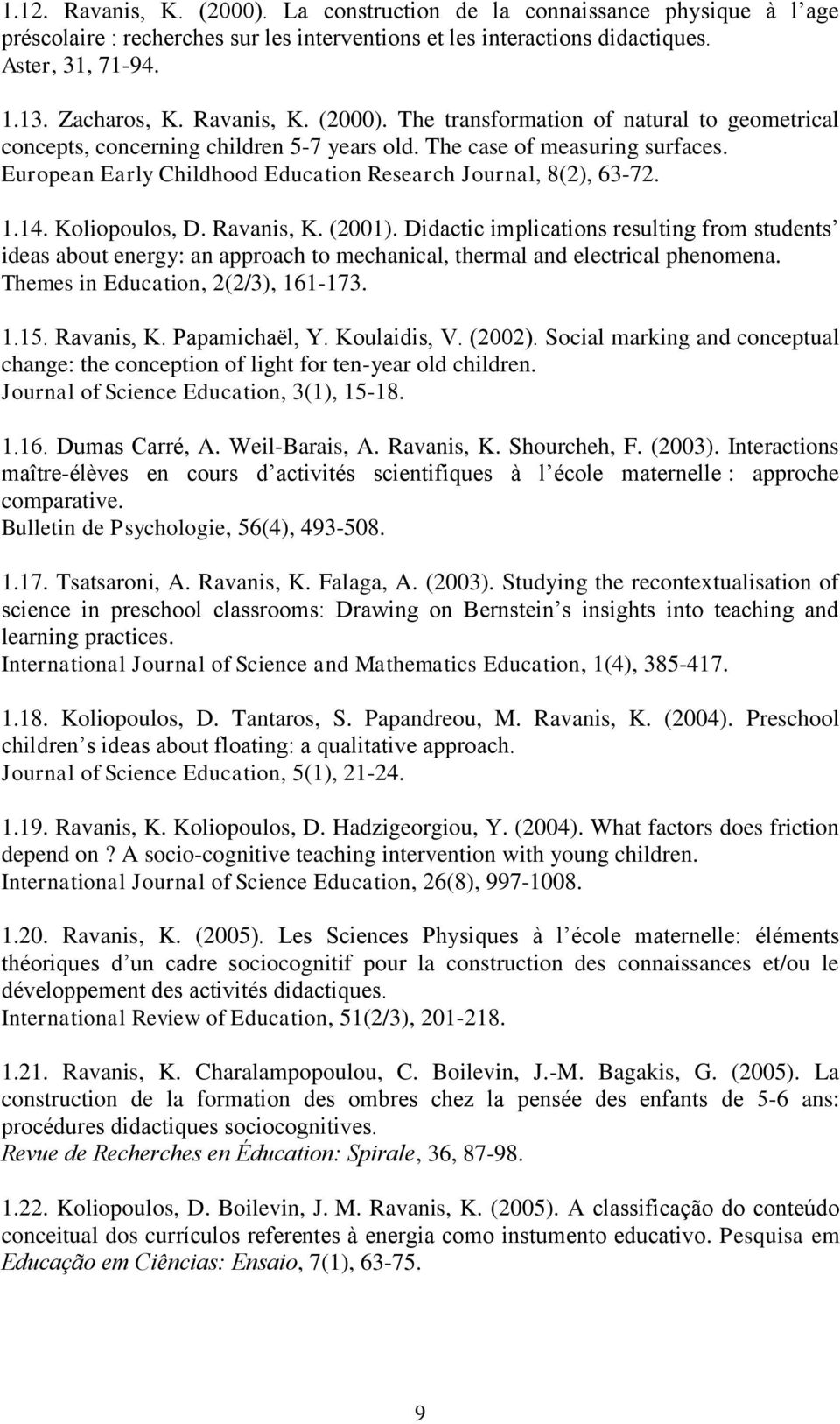 European Early Childhood Education Research Journal, 8(2), 63-72. 1.14. Koliopoulos, D. Ravanis, K. (2001).