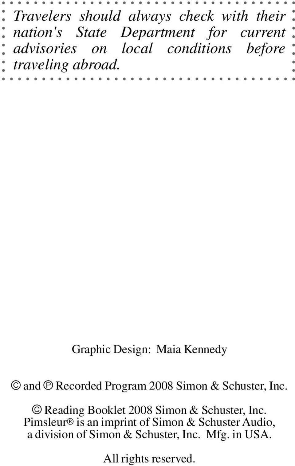 Graphic Design: Maia Kennedy and Recorded Program 2008 Simon & Schuster, Inc.