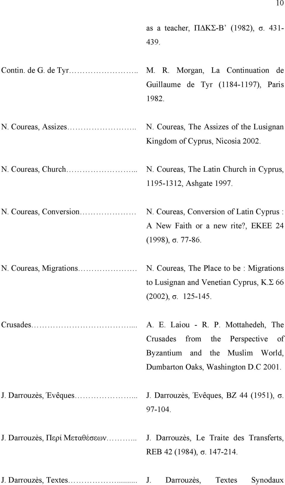 Coureas, Conversion of Latin Cyprus : A New Faith or a new rite?, ΕΚΕΕ 24 (1998), σ. 77-86. N. Coureas, Migrations. N. Coureas, The Place to be : Migrations to Lusignan and Venetian Cyprus, Κ.