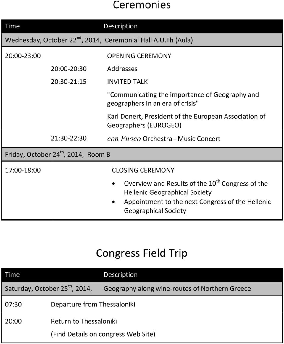 European Association of Geographers (EUROGEO) 21:30-22:30 con Fuoco Orchestra - Music Concert Friday, October 24 th, 2014, Room B 17:00-18:00 CLOSING CEREMONY Overview and Results of the 10 th