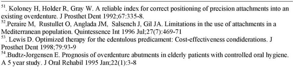 Limitations in the use of attachments in a Mediterranean population. Quintessence Int 1996 Jul;27(7):469-71 53. Lewis D.