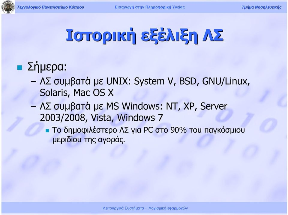 Windows: NT, XP, Server 2003/2008, Vista, Windows 7 Το