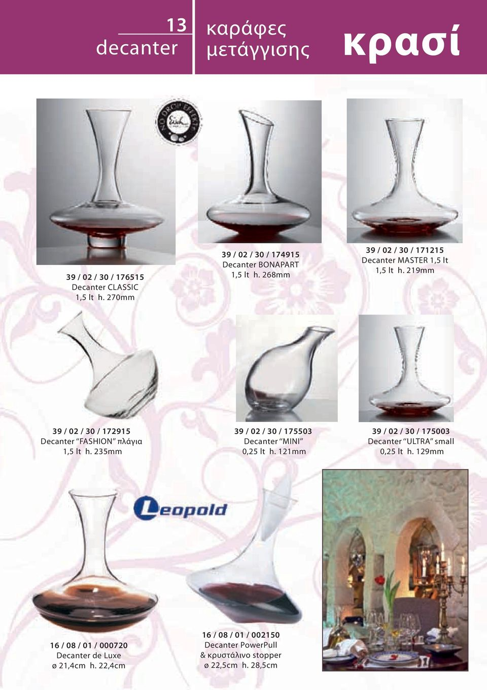 219mm 39 / 02 / 30 / 172915 Decanter FASHION πλάγια 1,5 lt h. 235mm 39 / 02 / 30 / 175503 Decanter ΜΙΝΙ 0,25 lt h.