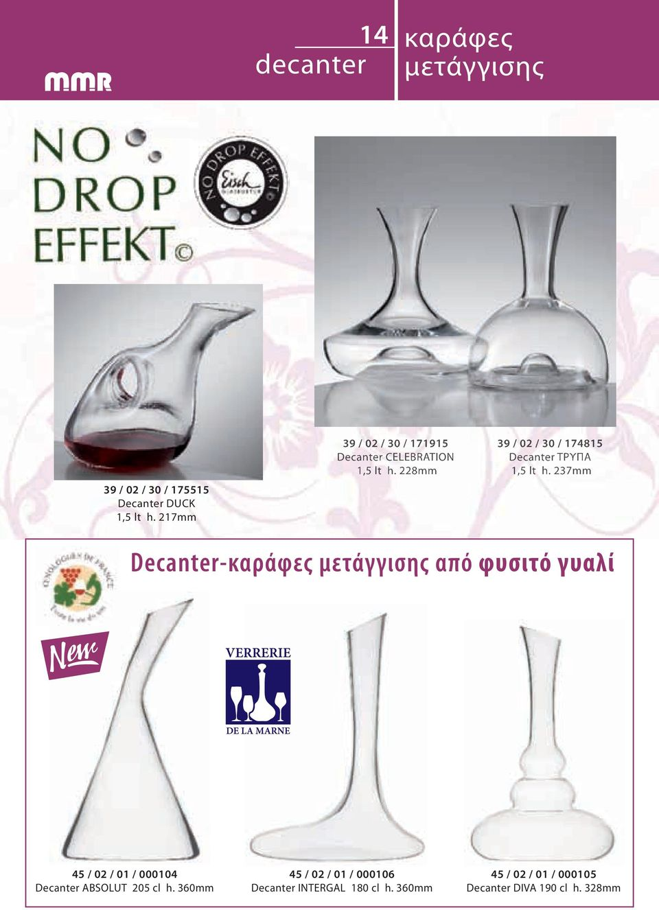 228mm 39 / 02 / 30 / 174815 Decanter ΤΡΥΠΑ 1,5 lt h.
